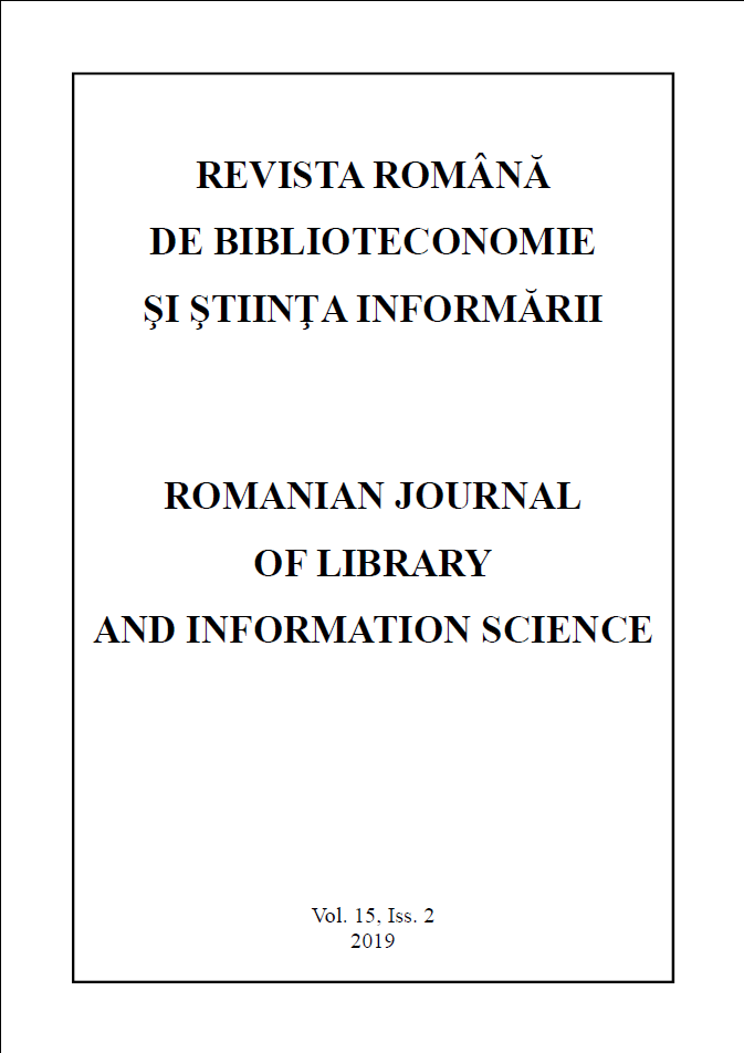 Romanian Journal of Library and Information Science - Vol. 15, Iss. 2, 2019