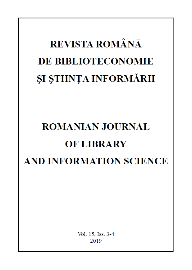 Romanian Journal of Library and Information Science - Vol. 15, Iss. 3-4, 2019